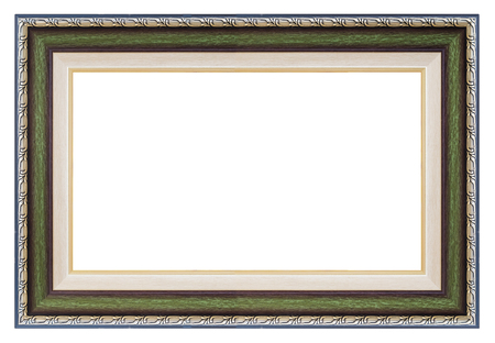 Silver and green  frame on a white background, isolated Reklamní fotografie
