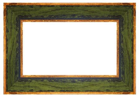 green vintage frame on a white background, isolated Banque d'images