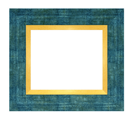Blue wooden frame on a white background, isolated