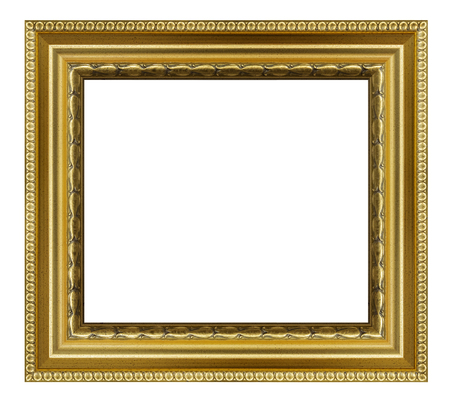 Vintage golden frame on a white background, isolated