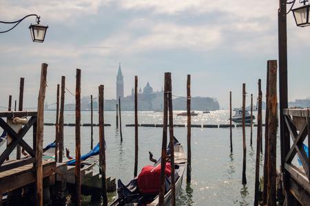 Empty gondola at the pier, Venice, Italy