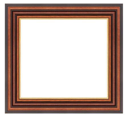 Cadre en bois marron vintage sur fond blanc Banque d'images