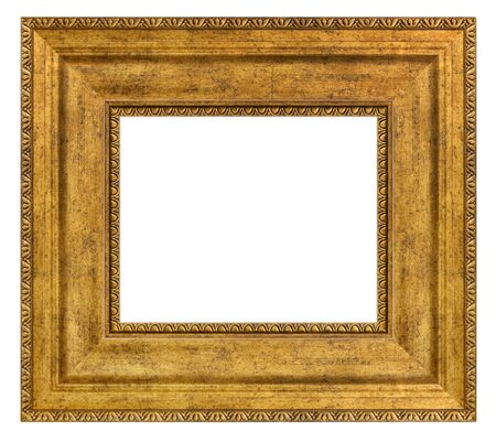 Vintage golden frame on a white