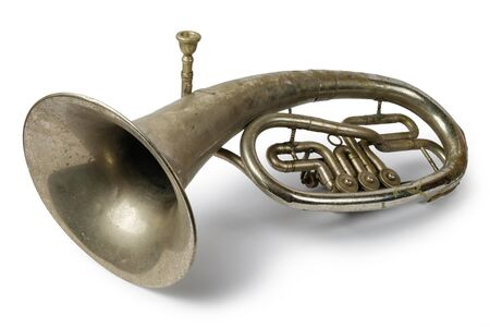 Old vintage tenor horn on a white
