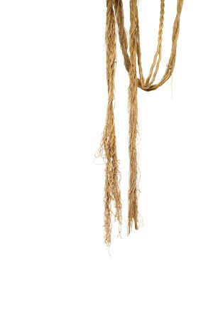Hanged linen brown rope on a white 스톡 콘텐츠