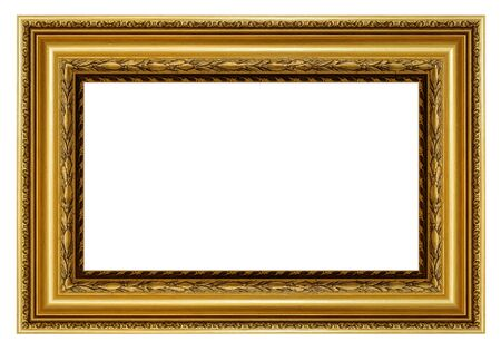 Vintage golden frame on a white Banque d'images