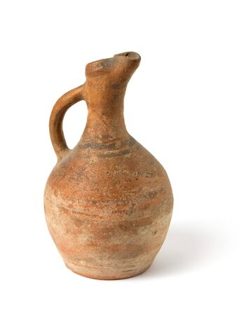 A traditional Georgian clay wine jug on a white Stock Photo