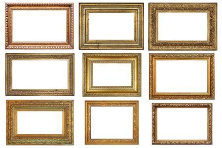 Set of old vintage golden frames on a white