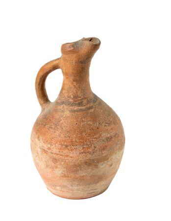 A traditional Georgian clay wine jug on a white