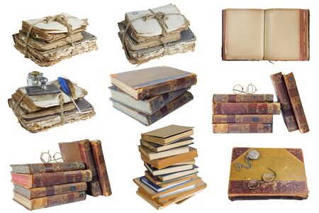 Set of old books and papers on a white background isolated