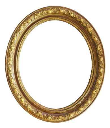 Vintage golden round frame on a white background, isolated 版權商用圖片