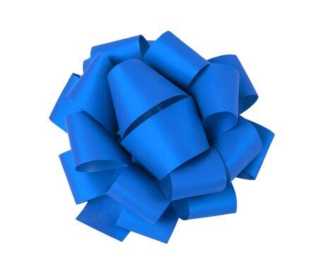 Fiocco regalo blu su sfondo bianco, isolato