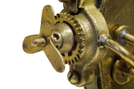 Close up view of details of old vintage mechanism