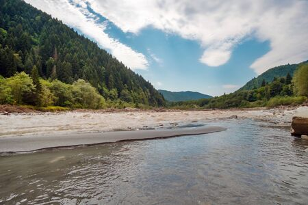 Mountain river flowing through the river glen, forest and blue cloudy sky background