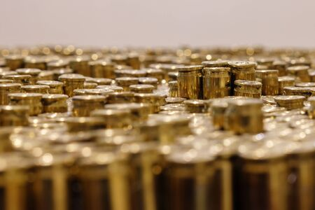 Rows of the shiny bullets with  selective focus point
