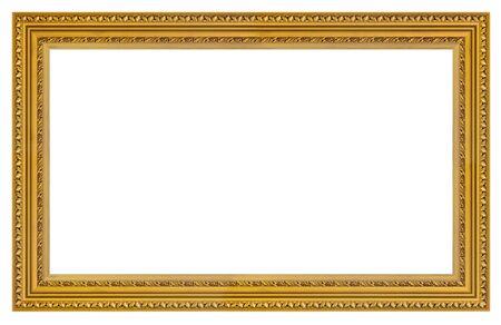 Marco dorado vintage sobre un fondo blanco, aislado