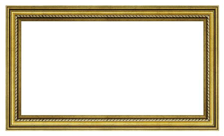 Cornice dorata d'epoca su sfondo bianco, isolato Archivio Fotografico
