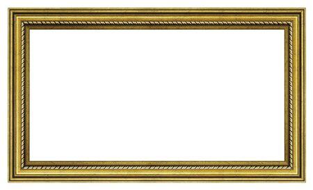 Marco dorado vintage sobre un fondo blanco, aislado Foto de archivo