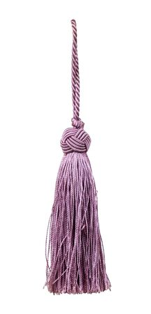 Small lilac tieback with rope isolated on a white background