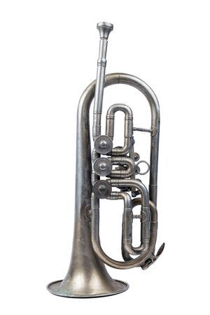 Old silver trumpet standing on a white background, isolated
