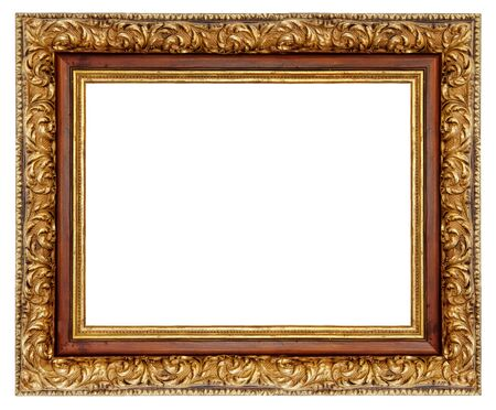 Vintage golden square frame on a white background, isolated