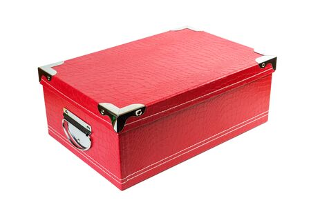 Red box with metal handles made of artificial leather Isolated on a white background