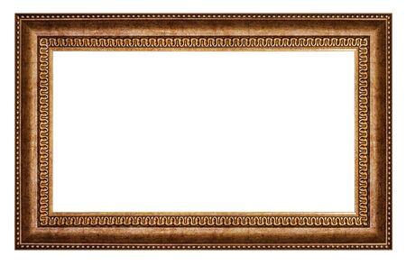 Old style vintage golden frame isolated on a white background Imagens