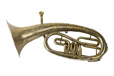 Old vintage tenor horn on a white background, isolated 版權商用圖片