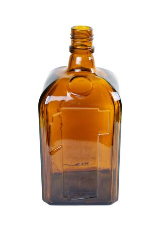 Old vintage brown bottle isolated on white background Archivio Fotografico