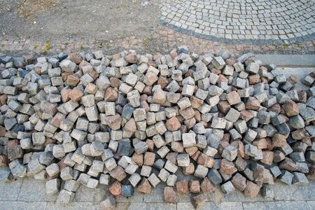 Color natural stone cubes for making outdoor pavement tiles in the street