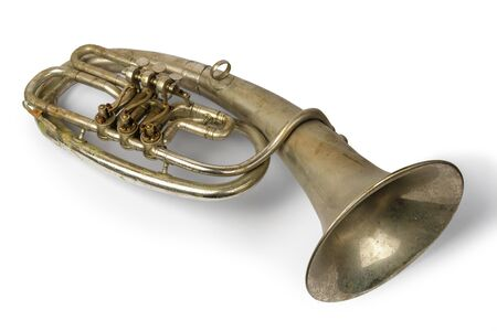 Old vintage tenor horn on a white background, isolated Stok Fotoğraf