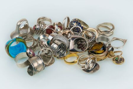 A collection of different rings and jewelry Stock Photo