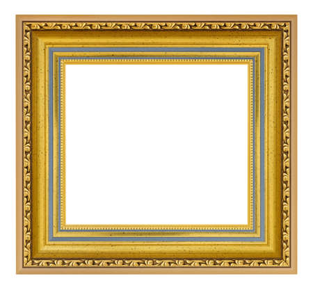 Golden vintage square frame on a white background, isolated
