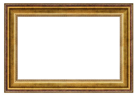 Golden vintage rectangle frame on a white background, isolated Banque d'images