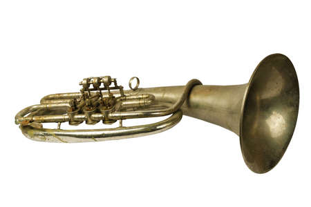 Old vintage tenor horn on isolated on a white background