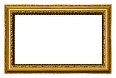 Old vintage golden frame isolated on a white background