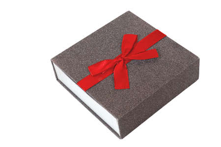 Gift box with red textile bow isolated on a white background Banque d'images - 159096284