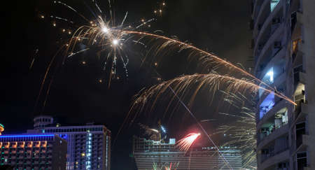 A firework been thrown from the balcony to celebrate the New year