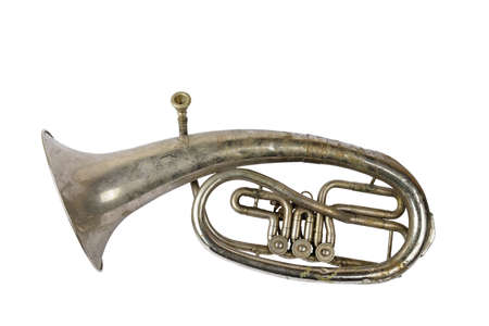 Old vintage tenor horn isolated on a white background Banque d'images - 159097025