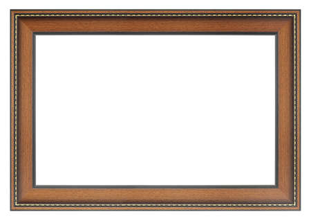 Old vintage wooden brown frame isolated on a white background