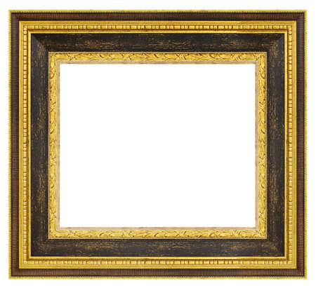 Old vintage golden and brown ornate frame isolated on a white background