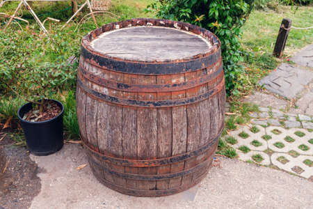 Old rusty wooden barrel in the yard with garden Banque d'images