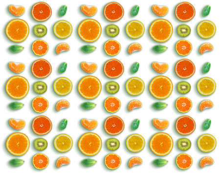 Pattern made with fresh Mandarins, sliced oranges, kiwi and mint leaves on white background. Flat lay