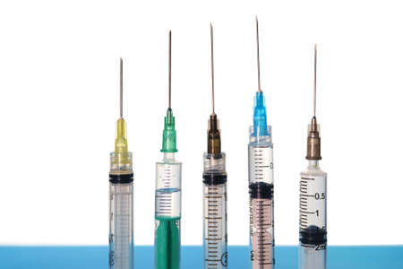 Different size and color syringes isolated on white background Banque d'images