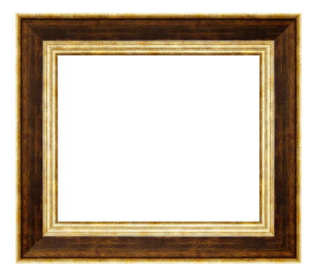 Vintage golden and brown frame isolated on a white background