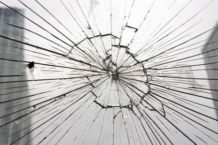 broken glass, glass cracked from an accident
