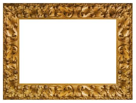 Vintage golden frame isolated on a white background 版權商用圖片