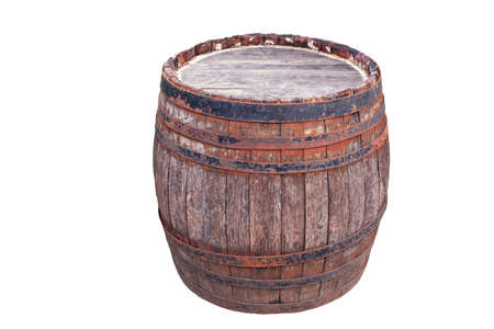 Old rusty wooden barrel isolated on white background