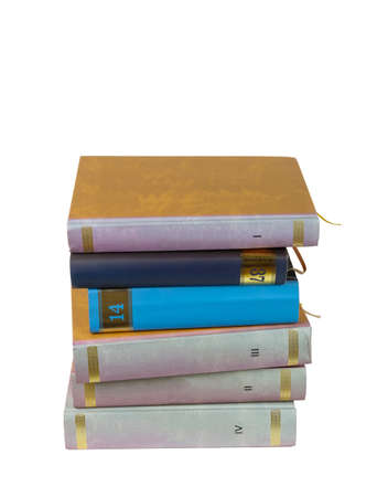 Stack of books isolated on the white background 版權商用圖片