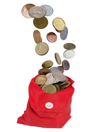 Money coins rain falling down in to the red pouch, isolated on  white background